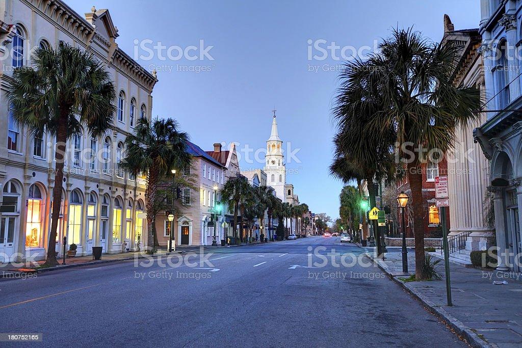 Quiet street in Charleston, South Carolina stock photo