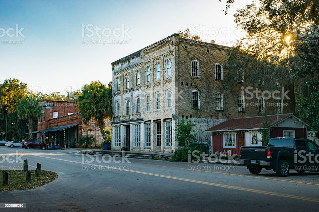 Quiet Street in Micanopy, Florida royalty-free stock photo