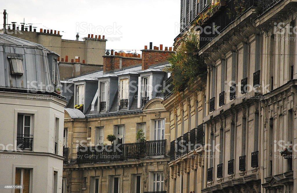 Quiet Street in Montmartre, Paris, France stock photo