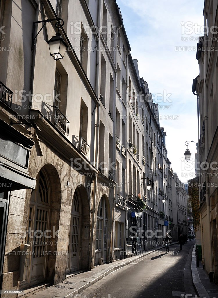 Quiet street in Paris stock photo