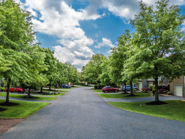 Quiet street in small american town stock photo