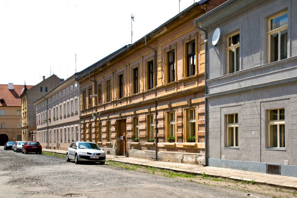 A quiet street in today Theresienstadt stock photo
