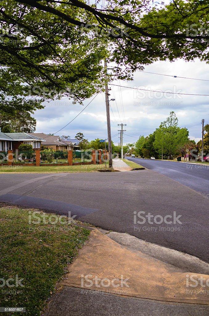 Quiet Suburban Street in Blue Mountains, Australia stock photo
