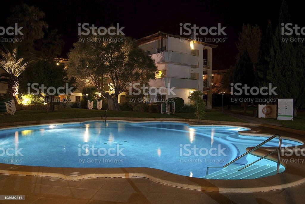 Quiet swimming pool at night - long exposure