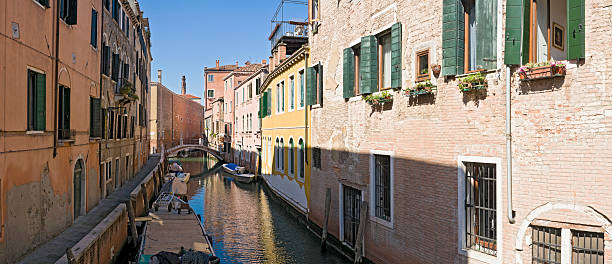 Quiet Venice colorful villas stock photo