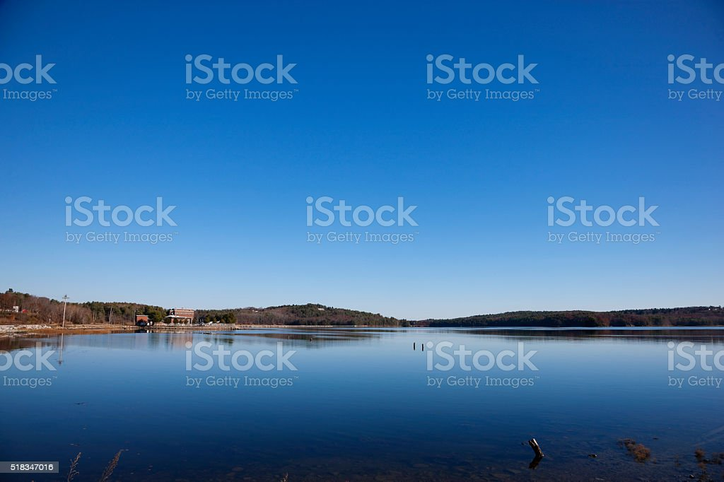 Quiet waters of Sheepscot river near Wiscasset, Maine stock photo