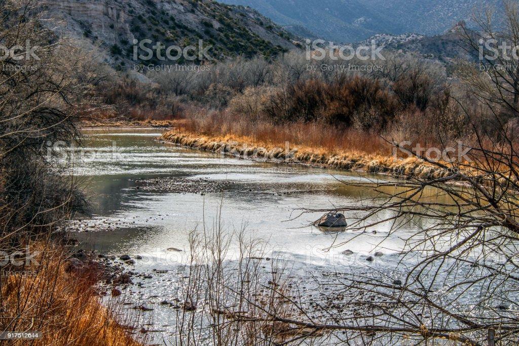 Quiet winter Chama River stock photo