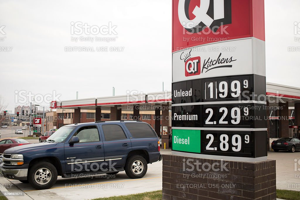 QuikTrip unleaded gas advertised below two dollars a gallon stock photo