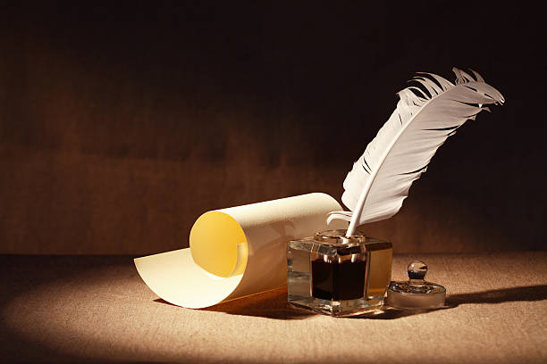 quill and scroll - quill stock photos and pictures