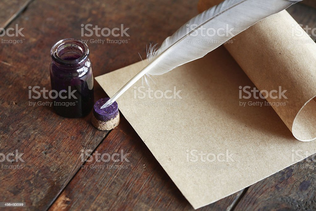Quill And Scroll stock photo