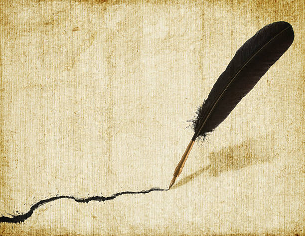 quill and squiggle - quill stock photos and pictures