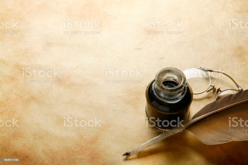 Quill & Ink Well 8 stock photo