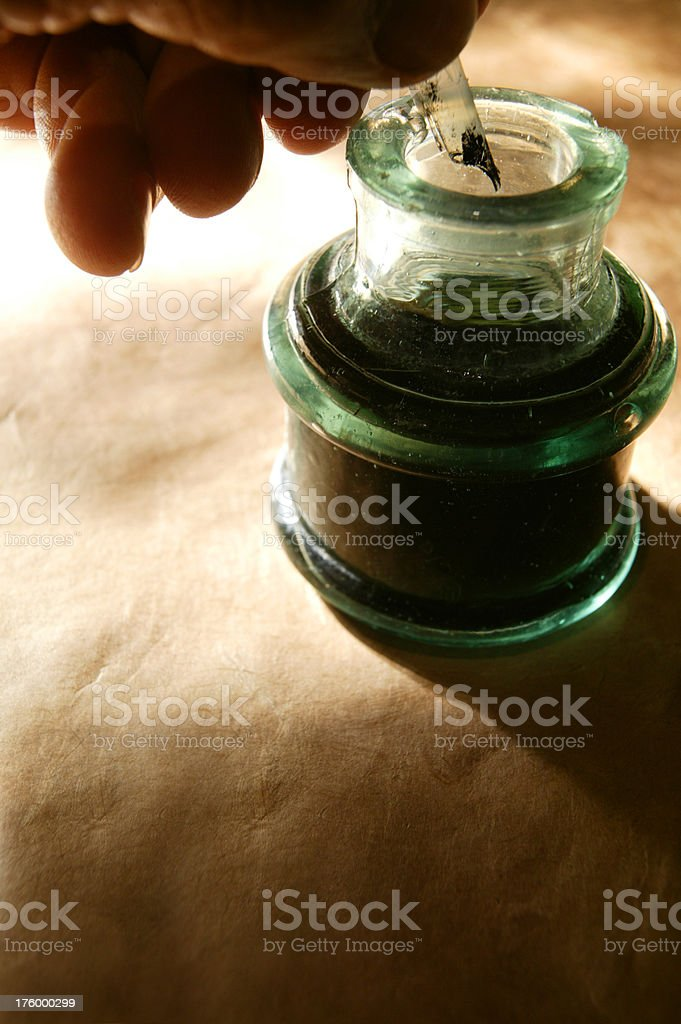 Quill & Ink Well royalty-free stock photo