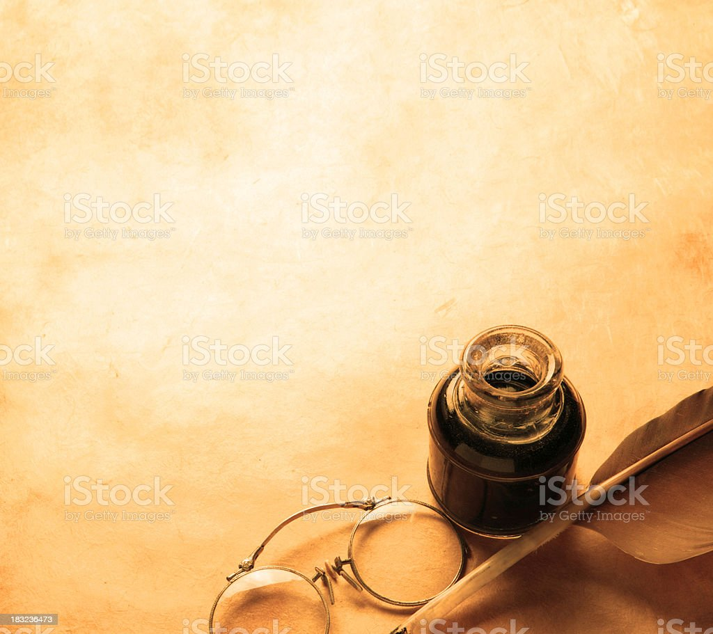 Quill, Inkwell , & Spectacles royalty-free stock photo