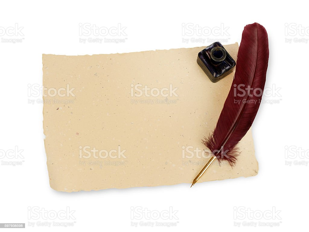 Quill, manuscript and ink well stock photo