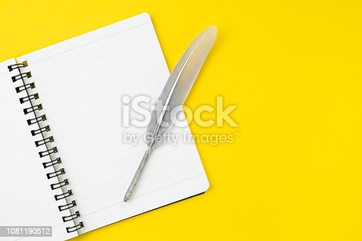 istock Quill or feather on clean white notebook open with copy space on solid yellow table background for presentation, writer or school education, blogger, novel and friction or brand story concept 1081190512