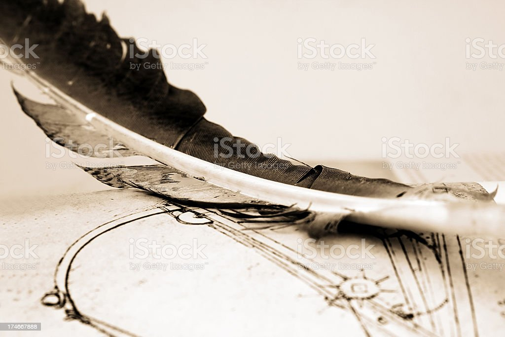 Quill pen and drawings stock photo