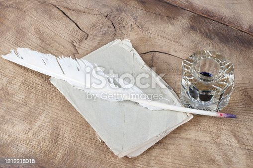 179239584 istock photo Quill pen and glass inkwell with old letters 1212218018