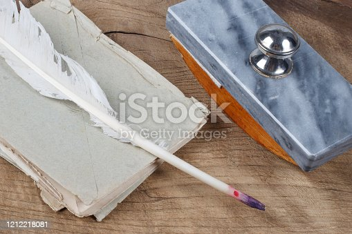 179239584 istock photo Quill pen and glass inkwell with old letters 1212218081