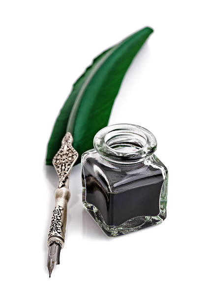 quill pen and ink well - ink well stock photos and pictures