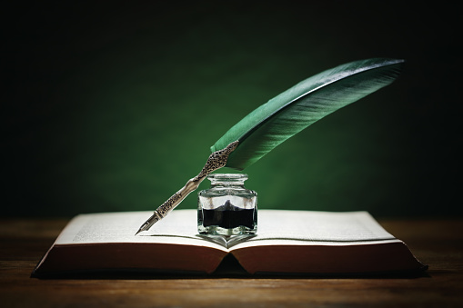 Quill Pen And Inkwell On Old Book Stock Photo - Download ...