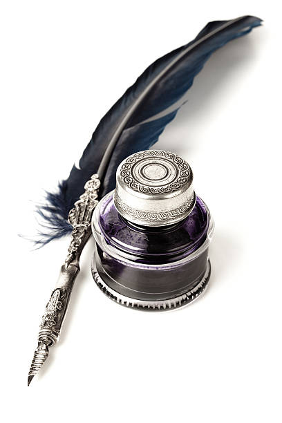 quill pen and inkwell - ink well stock photos and pictures