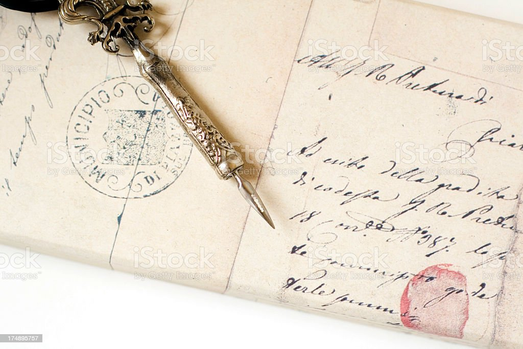 quill pen and letters royalty-free stock photo