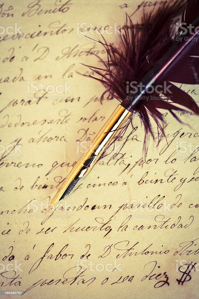 Quill pen and manuscrip stock photo
