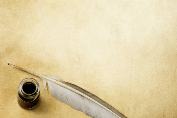 quill pen & ink bottle - ink well stock photos and pictures