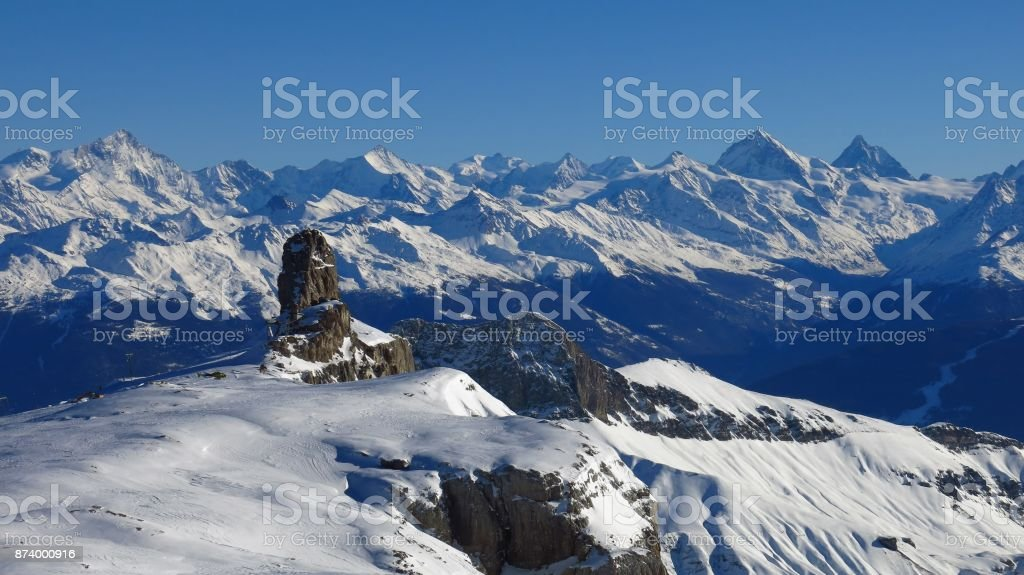 Quille du Diable, famous rock at the edge of the Diablerets glacier, Switzerland. Snow covered mountains. stock photo
