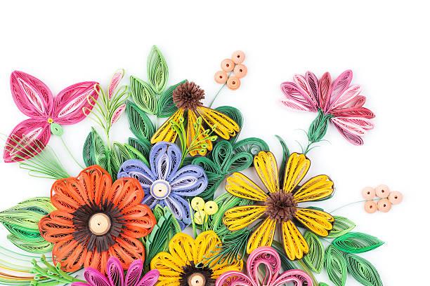 quilling paper flower designs isolated on white - origami anleitungen stock-fotos und bilder