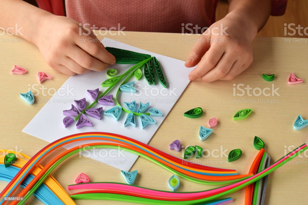 Quilling Technique Girl Making Decorations Or Greeting Card Paper