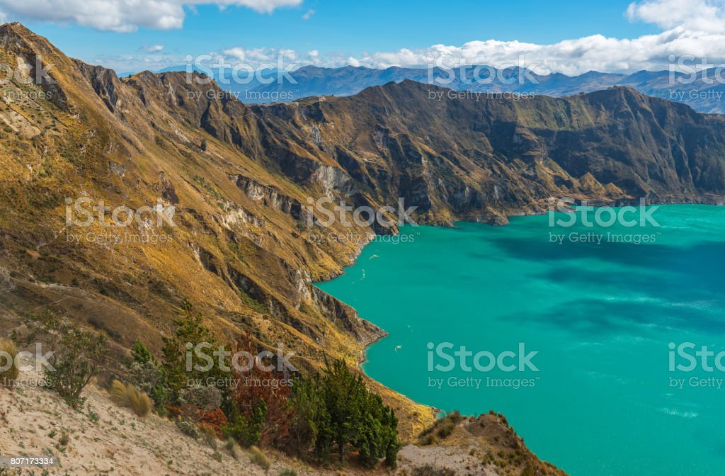Quilotoa Andes Volcanic Crater Lake stock photo