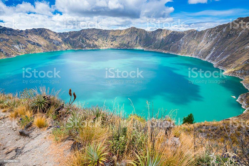 Quilotoa crater lake, Ecuador stock photo