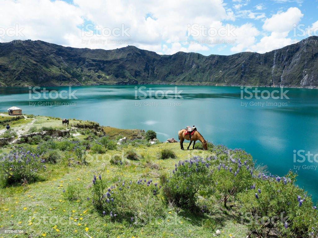 Quilotoa lagon at Latacunga, Ecuador stock photo