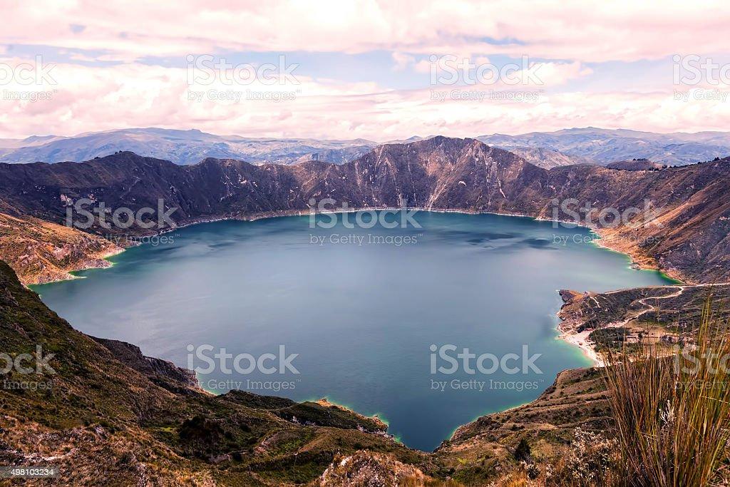 Quilotoa Lake, Water Filled Caldera stock photo