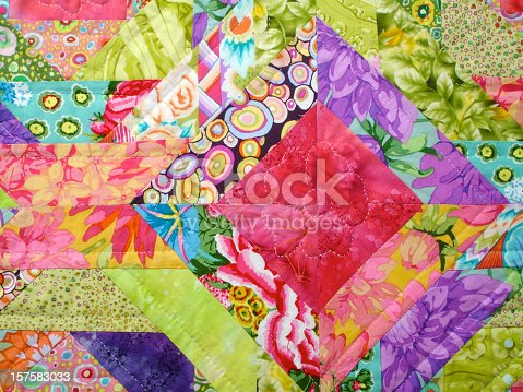 Colorful Quilt made from floral patterns and square shapes