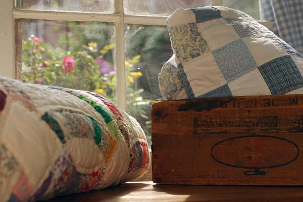 Quilt Scene: Antique Box stock photo