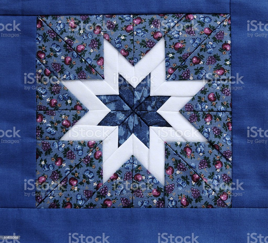 quilt star blue stock photo