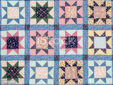 Full frame image of a flat vintage patchwork quilt with star motives in different colors.