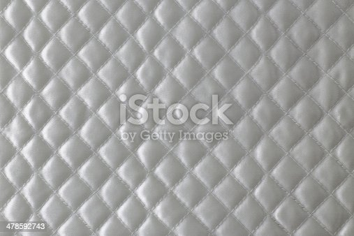 Stitch pattern of white quilted blanket.