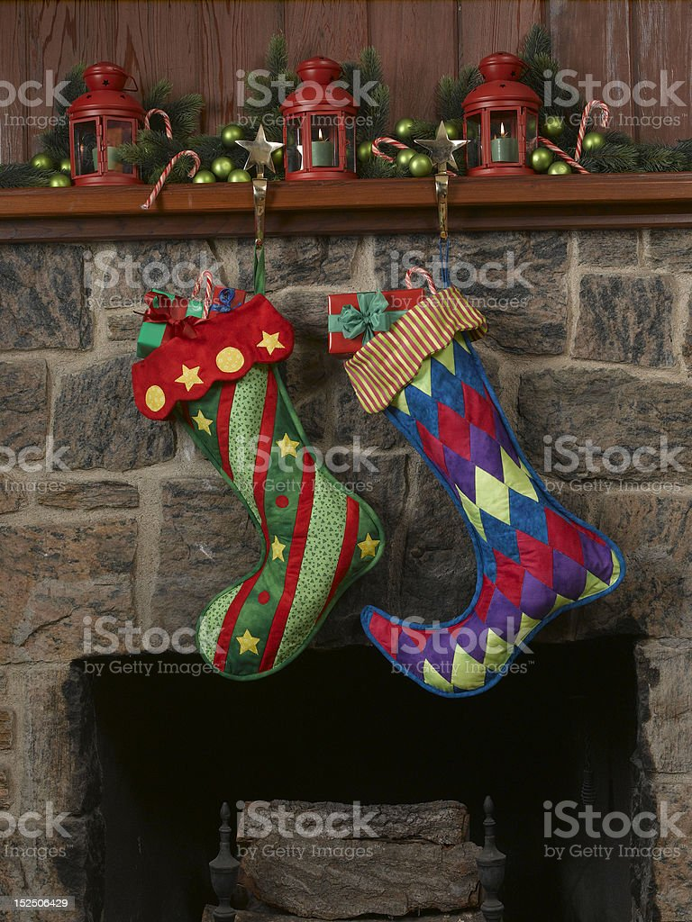 Quilted Christmas Stocking Hanging on Mantle royalty-free stock photo