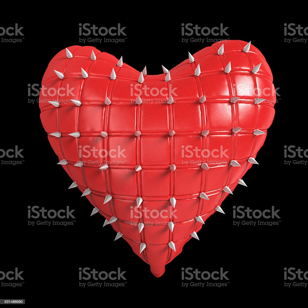 quilted heart with silver, kinky metal, steel spikes on surface stock photo