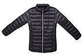 Black quilted jacket isolated on a white background