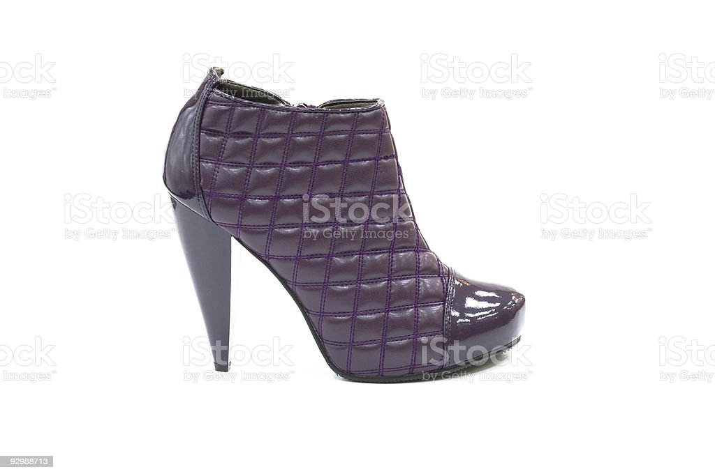 Quilted leather purple shoe with high heel royalty-free stock photo
