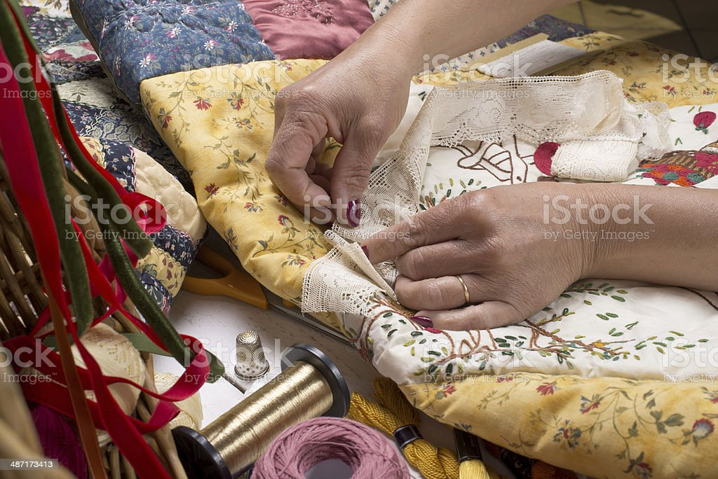 Quilting equipment and fabrics. stock photo
