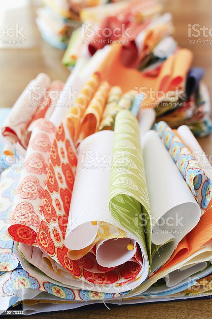 Quilting Fabric In A Row stock photo