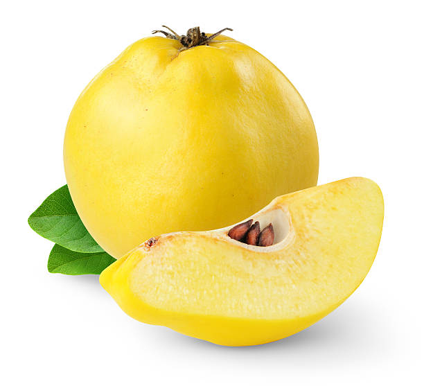 Quince fruit on white background stock photo