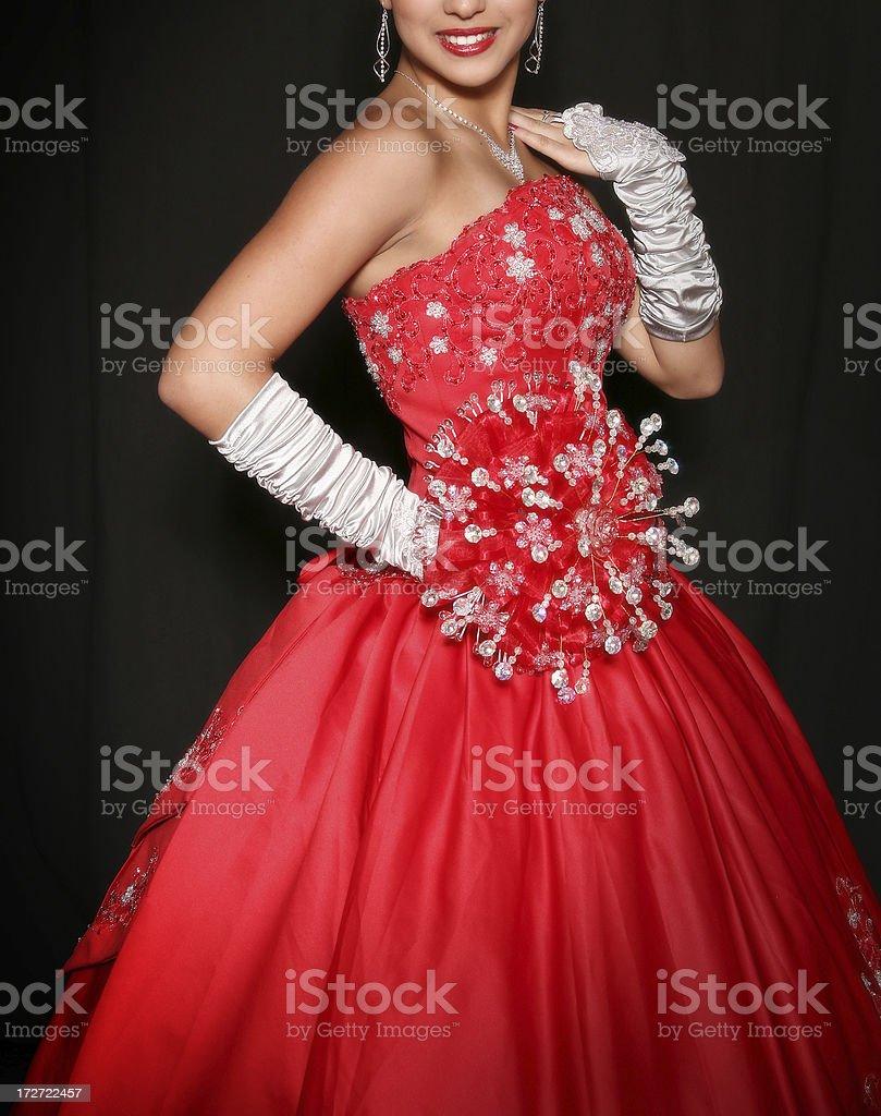 Quinceañera Wearing Red Dress stock photo