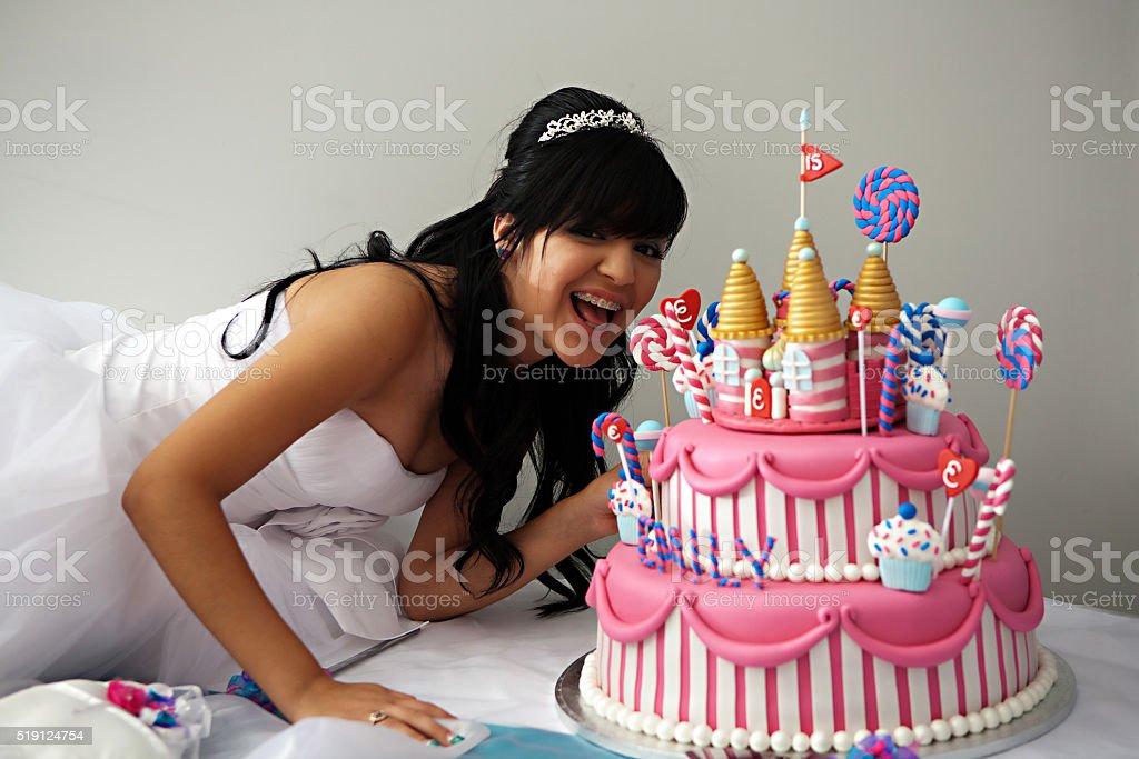Compleanno Torta della Quinceanera - foto stock